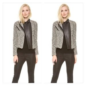 YIGAL AZROUËL Leather-Trimmed Knit Jacket